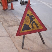 contractors at work sign