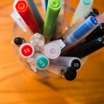 office pens on a table
